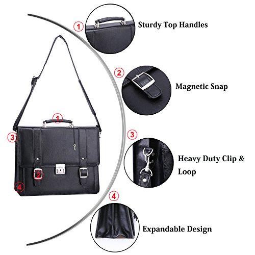 Ronts Men's PU Leather Briefcase Messenger Bag 15 Inch Macbook Laptop Shoulder Bag 015 by Ronts (Image #2)