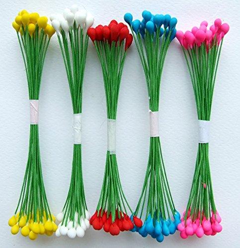 500 Stamen Pollen Flower Craft Artificial Scrapbook Floral Round Wire Stem Card