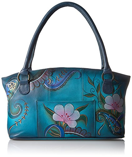 Anuschka Anna Hand Painted Wide Tote Denim Paisley Floral, Dpf-Denim Paisley (Hand Painted Leather Bags)