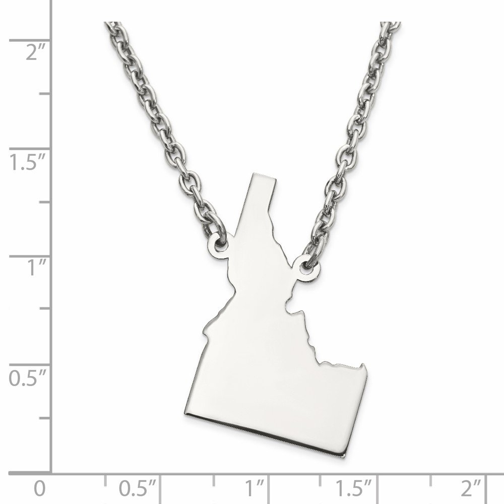 925 Sterling Silver ID State Shaped Pendant with chain