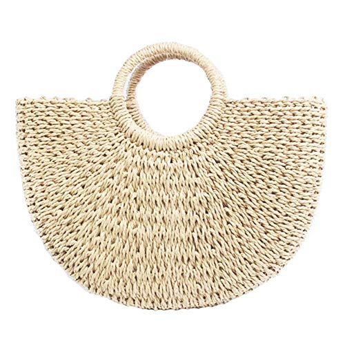 Straw Bag Large Woven Summer Bag Women Round Handle Ring Tote Retro Summer Beach Shoulder Bag (Beige)