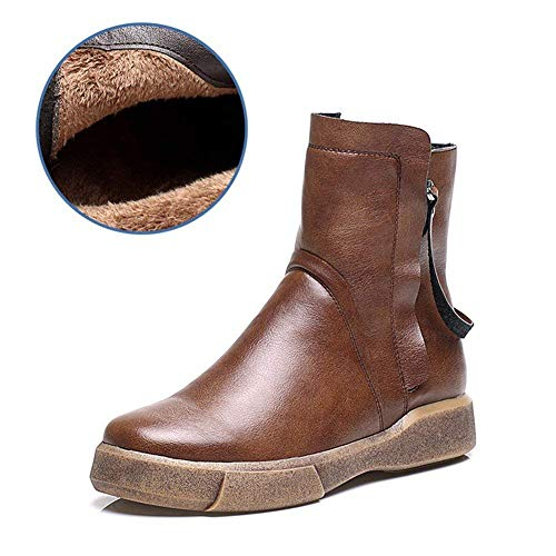 Zapatos Bajo Las Con Ocasionales Botas Deed Tacón Retro Cremallera Eu Plana Los 38 De Mujeres Cortas AqwAI1O