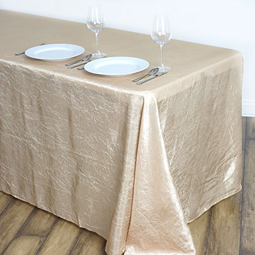 BalsaCircle 90x132-Inch Champagne Rectangle Crinkled Taffeta Tablecloth Table Cover Linens for Wedding Party Kitchen Dining Events