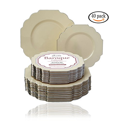Baroque Collection Ivory Silver-Edged Dinner and Side Plates Wave Rim Design Disposable Dinnerware - Great for Formal Dinners, Weddings, and Holidays (Set of 40)