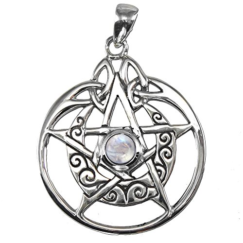 Sterling Silver Crescent Moon Pentacle Pendant with Natural Rainbow Moonstone