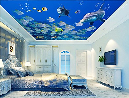 LWCX Custom Photo 3D Ceiling murals Wallpaper Home Decor 3D Wall murals Wallpaper for Living Room Marine Fish Dolphin Painting 430X280CM
