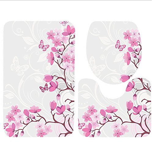 Keshia Dwete three-piece toilet seat pad customJapanese Collection Mystical Majestic Pink Cherry Blossom Tree Floral Leaves Asian Nature in Golden Sun Pink Yellow