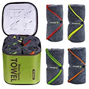 4Monster 4 Pack Microfiber Bath Towel Camping Towel Swimming Towel Sports Towel with Accessory Bag, Quick Dry & Super…