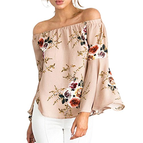 Wintialy Women Casual Off Shoulder Long Sleeve Cuffed Floral Print Tops (6 Colors, S-XXXL) (Maternity Cuffed Crop Pants)