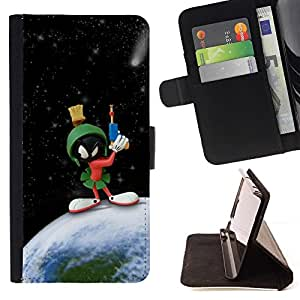 BETTY - FOR Apple Iphone 5C - Funny Space Martian Cartoon - Style PU Leather Case Wallet Flip Stand Flap Closure Cover