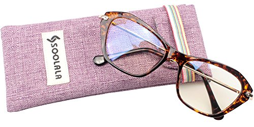 SOOLALA Womens Quality Fashion Alloy Arms Cateye Customized Reading Glasses, Tortoise, +1.75D