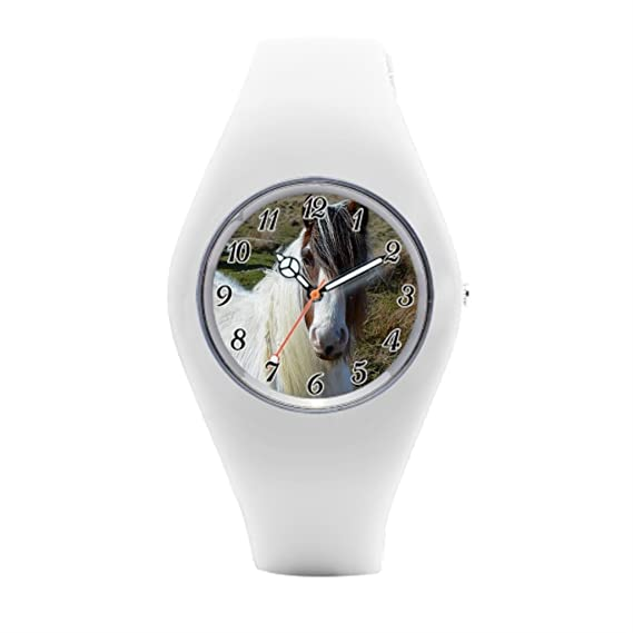 timetoshine para hombre de goma relojes establo de caballos de caballo blanco reloj de pulsera deportivo: Amazon.es: Relojes