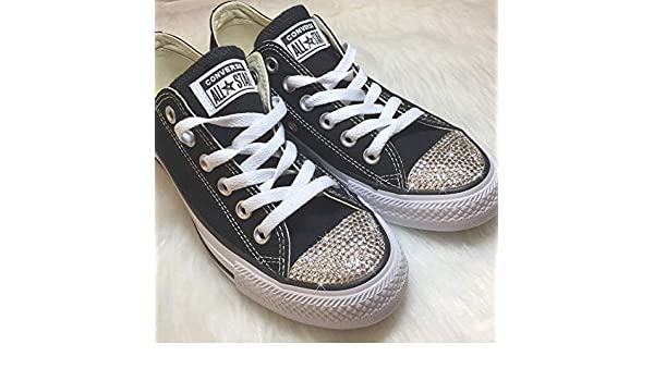 b15cb7d503fe Amazon.com  Women s Blinged Out Shoes All Star Chucks Custom BLING Slip On Sneakers  Bedazzled with Swarovski Crystals  Handmade