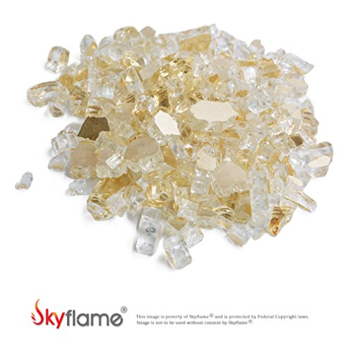 Skyflame High Luster 10-Pound Fire Glass for Fire Pit Fireplace Landscaping, 1/2-Inch Gold Reflective by Skyflame