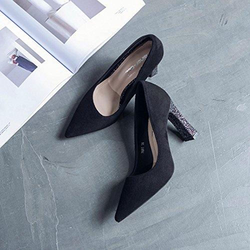 la ed luce scarpe primavera delle estate a satinata singoli 39 con Grossolana pattini donne tacco per tendenza la punta nero alto punto S8wZqH