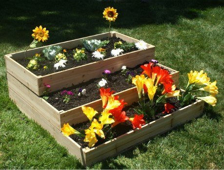 Eden RGB-4W-3TIER WATERFALL/ PYRAMID Garden Bed Kit, Eco-friendly, Solid Fir Wood Material, Easy to Assemble, 4ft x 4ft x 17.5in