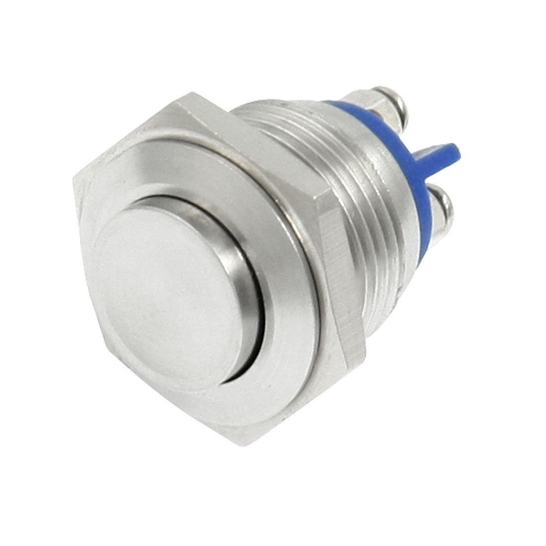 SODIAL(R) 16mm alto redondo Interruptor de boton pulsador de metal momentaneo redondo alto