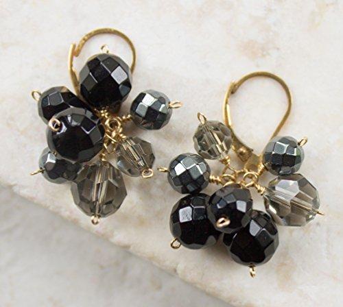 Black Onyx, Hematite & Crystal Cluster Earrings