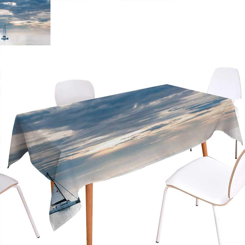 Nautical Dinner ピクニックテーブルクロス ヨット ボート & ホワイト 海の波 雲の空の冒険 写真 防水 キッチン用テーブルカバー 50インチx80インチ ブルーとホワイト W70