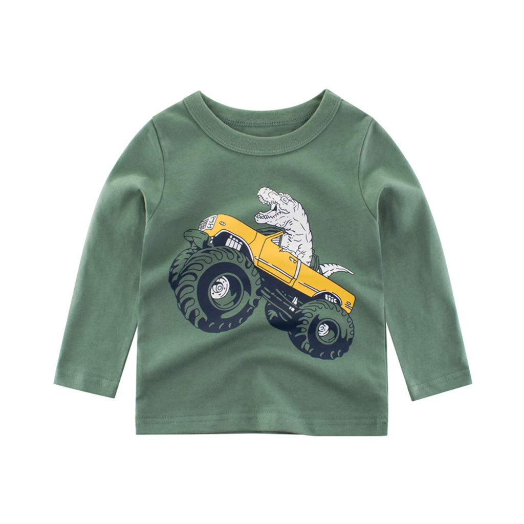 Caerling Boys Tops Korean Single T Medium Boys Long Sleeve Animal T-Shirt Long Sleeve Top Baby Boy Clothes Baby Boy Outfits Boys Christening Outfit Black 3, 90