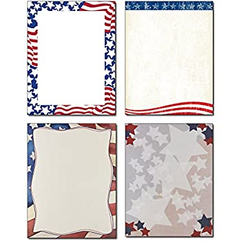 531d74a72c33 Patriotic Stationery Variety - 4 Designs - 80 Sheets - Great for Memorial  Day