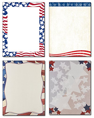 Patriotic Stationery Variety - 4 Designs - 80 Sheets - Great for Memorial Day, Veteran