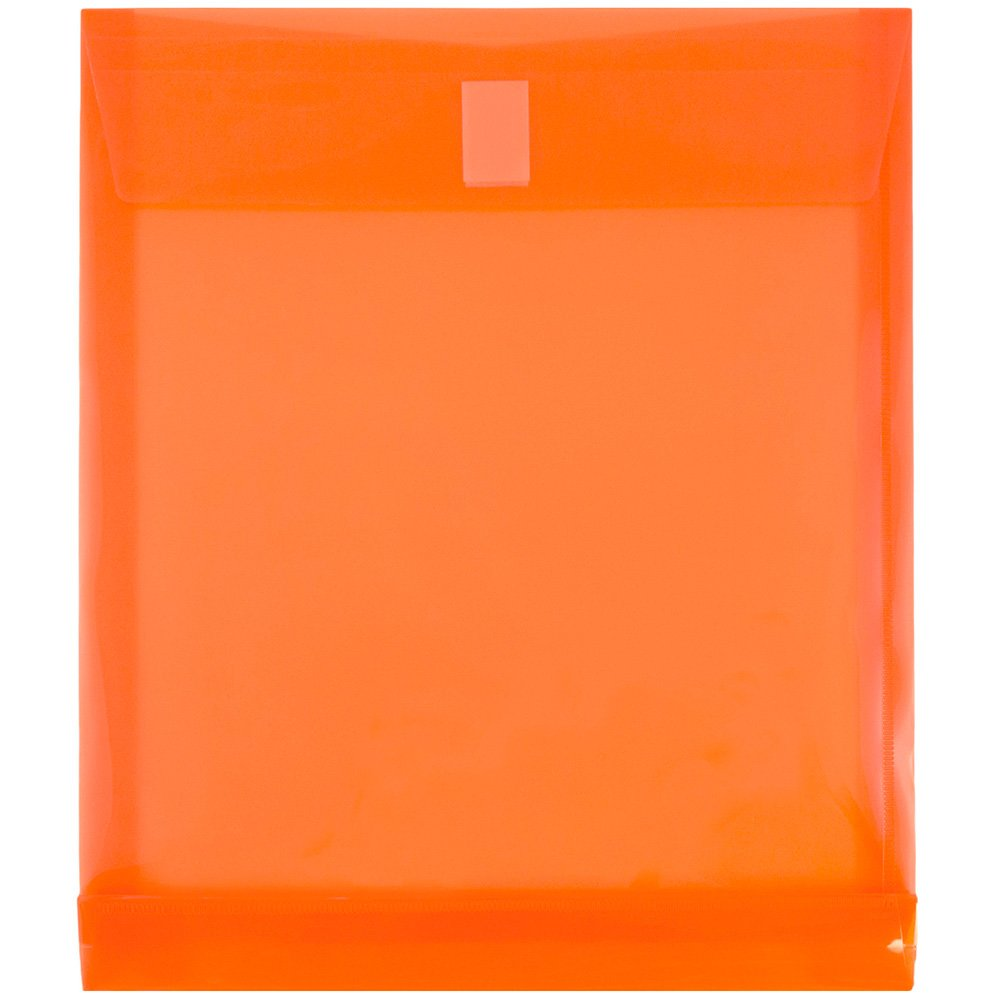 JAM PAPER Plastic Expansion Envelopes with Hook & Loop Closure - Letter Open End - 9 3/4 x 11 3/4 with 1 Inch Expansion - Orange - 12/Pack