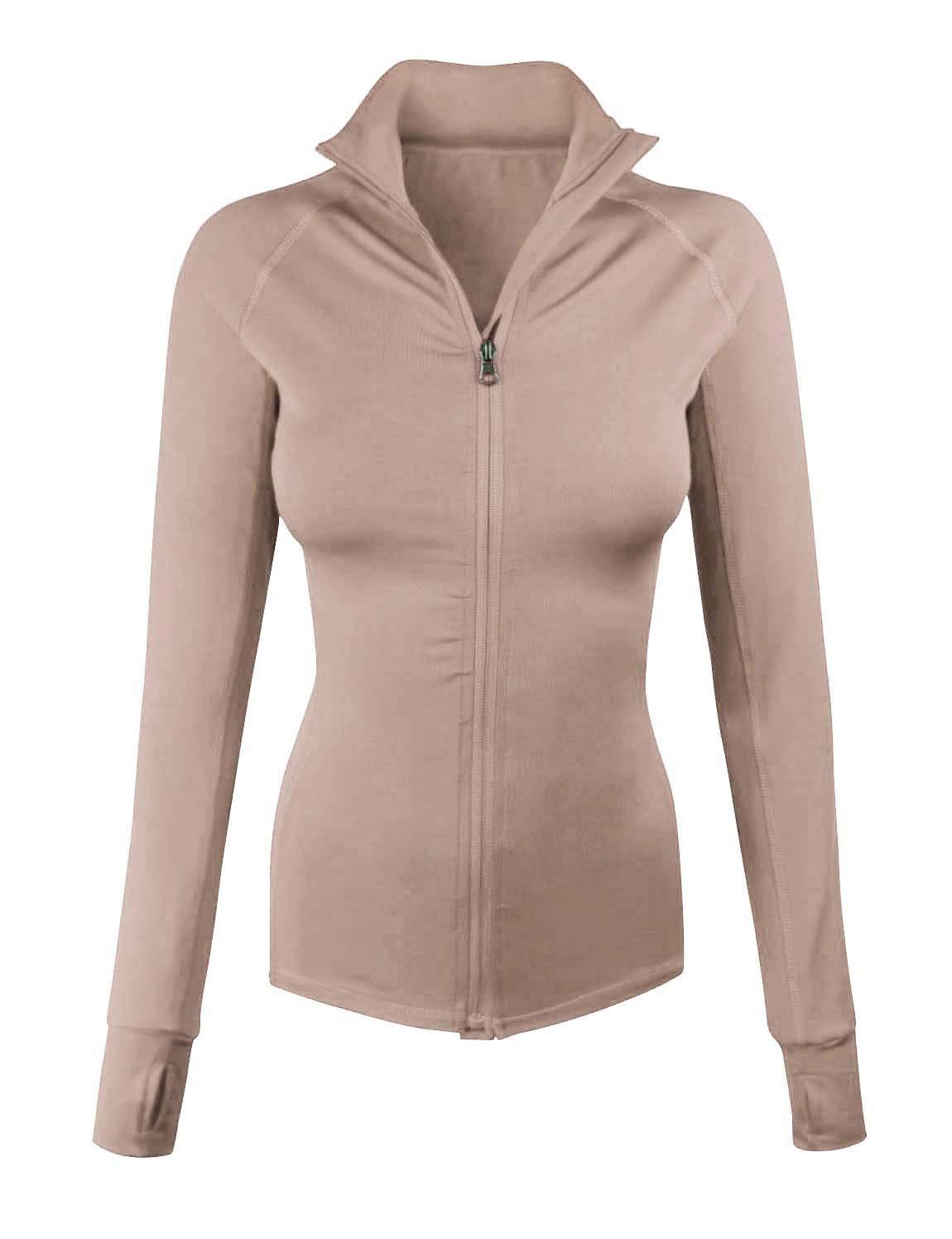 makeitmint Women's Comfy Zip Up Stretchy Work Out Track Jacket w/Back Pocket Small YJZ0002_02KHAKI