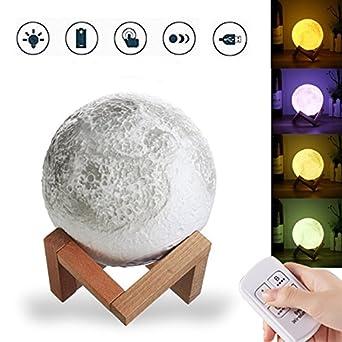 BZAHW 13CM 3D Lámpara de luna USB LED Lámpara de escritorio de ...
