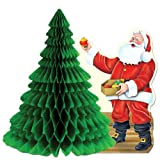 Beistle 1-Pack Santa with Tissue Tree Centerpiece, 11-Inch