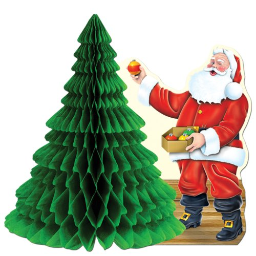 Beistle Paper - Santa w/Tissue Tree Centerpiece Party Accessory (1 count) (1/Pkg)