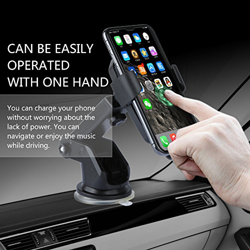 Wireless Car Charger, TUREAL Windshield Car Phone Mount Holder, Qi 10W Wireless Charging Strong Sticky Gel Pad Compatible iPhone X, 8/8 Plus, Samsung Galaxy S8/S8 Plus/S7/S7 edge/S6 edge Plus/Note 8/5 by TUREAL (Image #2)