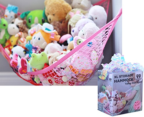 Princess Toy Box - MiniOwls Toy Storage Hammock X-Large Organizer in PRINCESS PINK, Best De-cluttering Solution & Inexpensive Idea for Every Room at Home or Facility - 3% is Donated to Cancer Foundation (pink, xl)