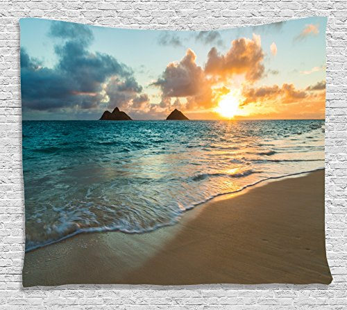 Ambesonne Hawaiian Decorations Collection, Scenic Sunrise Over Ocean Rocks Sand Clouds Sunshine Tide Sunbeam Seashore, Bedroom Living Room Dorm Wall Hanging Tapestry, 80W X 60L Inch, Yellow ()