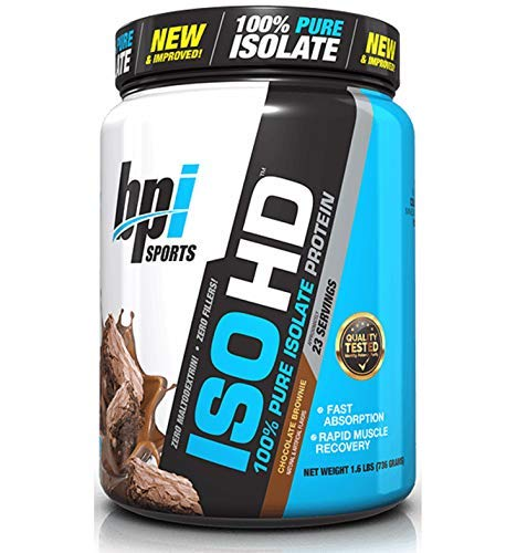 BPI Sports ISO HD Whey Protein Isolate and Hydrolysate, Chocolate Brownie, 1.6 Pound