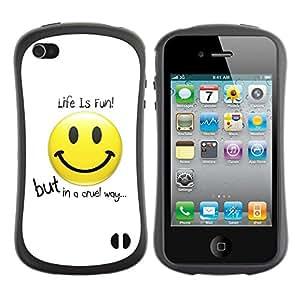Suave TPU GEL Carcasa Funda Silicona Blando Estuche Caso de protección (para) Apple Iphone 4 / 4S / CECELL Phone case / / Life Is Fun Message /
