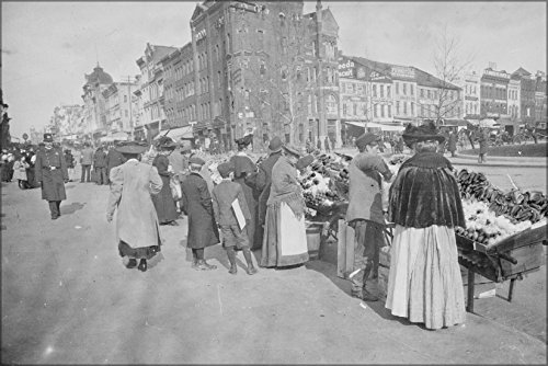 24x36 Poster; Shoppers At The Outdoor Food Market, 7Th Street At Pennsylvania Avenue, Nw, Washington, D.C 1900 (Four Poster Shopper)