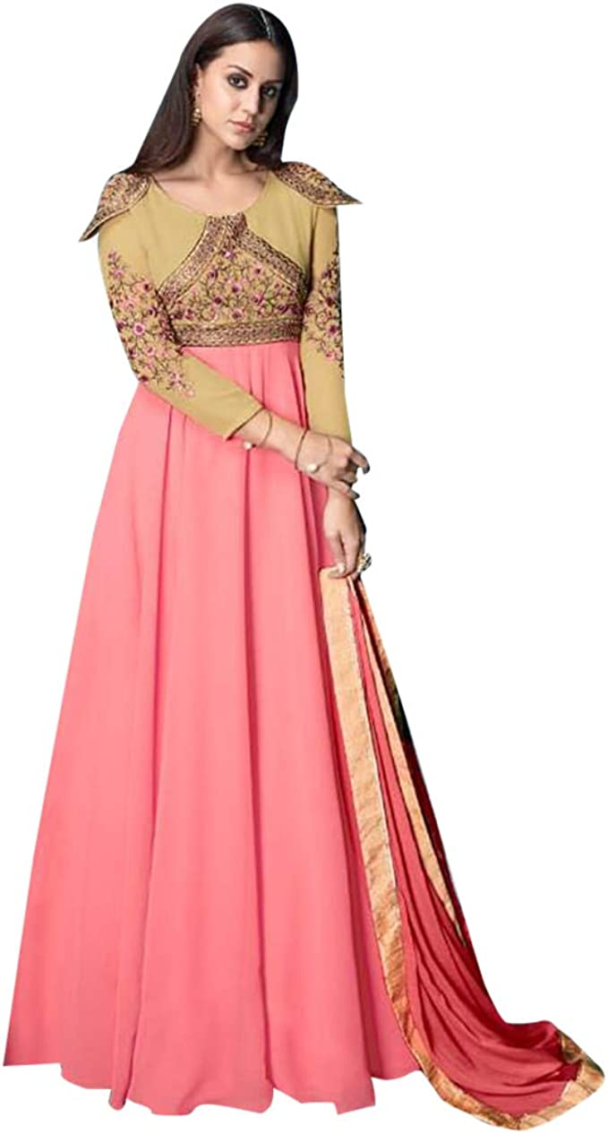 ETHNIC EMPORIUM Damen Stilvolle rosa langes Kleid Kleid Kurti