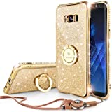 Glitter Cute Samsung Galaxy S8 Plus Case Girls with Stand, Bling Diamond Rhinestone Bumper with Ring Kickstand Clear Thin Soft Protective Sparkly Luxury Galaxy S8 Plus Case for Girl - Gold