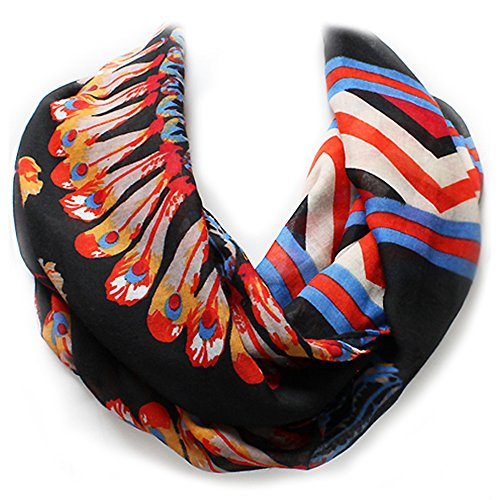 Black, Ivory, or Coral Pueblo Feather Western Style Infinity Scarf from the WYO-HORSE Jewelry Collection (Black) by Wyo-Horse