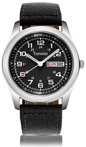 Tonnier Men's Weekender&Calendar Analog Black Canvas Strap Mans ()
