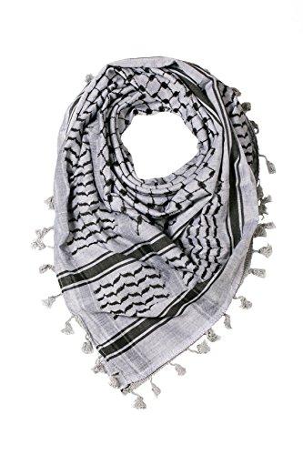 "Hirbawi Premium Arabic Scarf 100% Cotton Shemagh Keffiyeh 47""x47"" Arab Scarf (Black and Gray)"