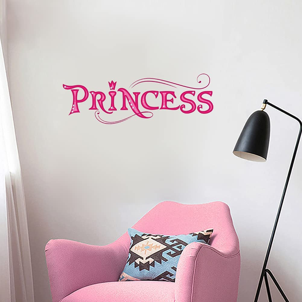 MEFOSS Pink Princess Quote Wall Decals Princess Door Sign for Girls Room Removable Peel & Stick Vinyl Wall Decal for Girls Bedroom Kids Room Decor,5