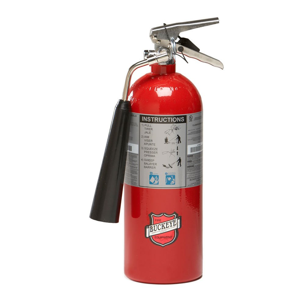 "Buckeye 45100 Carbon Dioxide Hand Held Fire Extinguisher with Wall Hook, 5 lbs Agent Capacity, 5-1/4"" Diameter x 8-1/4"" Width x 17-3/8"" Height"