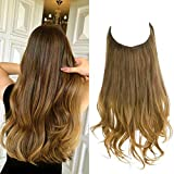 Halo Hair Extensions Ombre Brown to Golden Curly Short Hairpiece Synthetic 14 Inch 3.7 Oz Hidden Wire Headband for Women Heat Resistant Fiber No Clip SARLA(M04&10T27)