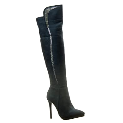 a00371e4492 Angkorly - Women s Fashion Shoes Boots Thigh Boot - Stiletto - Sexy - Rhinestone  Stiletto high Heel 11.5 cm - Blue F-199 T 35 - UK 3  Amazon.co.uk  Shoes    ...