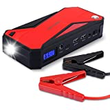 DBPOWER 600A Peak 18000mAh Portable Car Jump Starter Battery Booster and Phone Power Bank with Charging Port, Compass, LCD Screen and LED Light, up to 6.5L Gas and 5.2L Diesel Engine - Black/Red