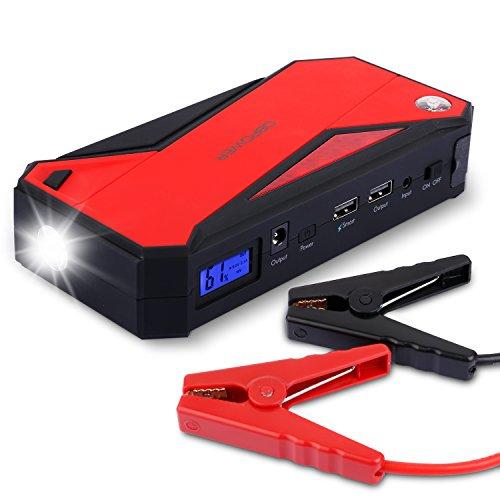 DBPOWER 600A Spitzenstrom 18000mAh Tragbare Auto Starthilfe Autobatterie Anlasser, Externes Akku-Ladegerät mit Kompass, LCD Display und LED Taschenlampe für Laptop, Smartphone, Tablet und Vieles Mehr (Schwarz/Rot)