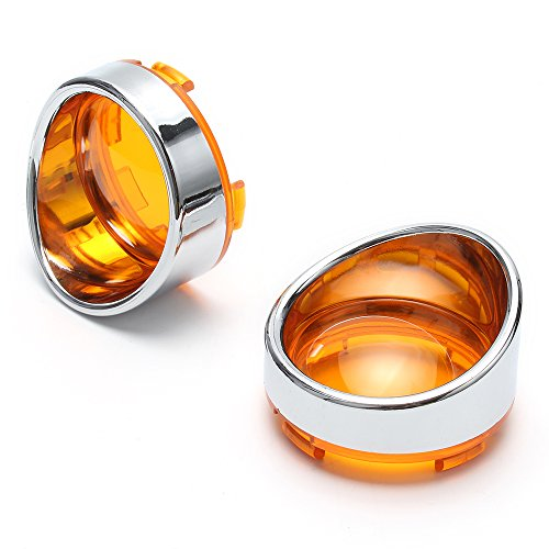 NEVERLAND Turn Signal Bezels Orange Lens Lamp Cover for Harley Davidson All Model Sliver ABS