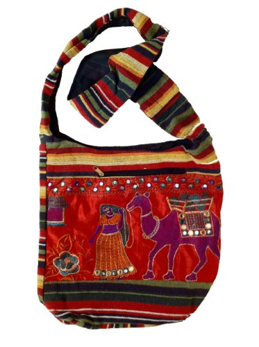 MG Decor Madhu's Collection Gypsy Recycled Patchwork Sling Cross Body Camel Bag/Purse, Bags Central